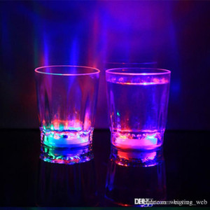 Wholesale bar lights wine glasses resale online - Glowing Wine Glasses Mini Luminous Flash Light LED Glass Small Colorful KTV Concert Bar Special Drinkware Flashing Coffer Mugs