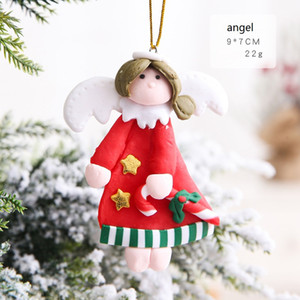 Wholesale gloves doll resale online - Christmas Soft Clay Doll Pendant Tree Santa Gloves Angel Socks Design Pendant Soft Clay Christmas Hanging Ornament GGE1774