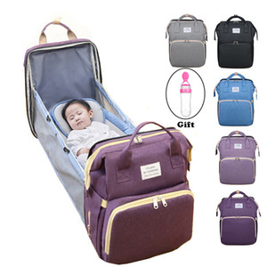 Wholesale babies change tables resale online - Multifunctional Portable Folding Diaper Bag Baby Travel Large Backpack Baby Bed Diaper Changing Table For Outdoors C1008
