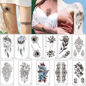 ingrosso coscia tatuaggi-Autoadesivo del tatuaggio del fiore Progettazione di gioielli temporanei per la donna Braccio del petto indietro Back Thigh Calzatura del corpo Trucco Dreamcatcher Dreamcatcher Sunflower Decalcomania Henna Tattoo