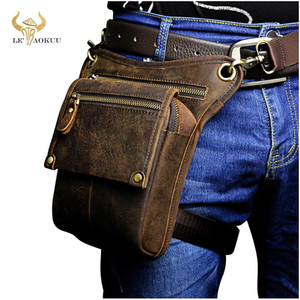 Wholesale leg pouch bag resale online - Crazy Horse Leather men Multifunction Design Small Messenger Fashion Travel Belt Waist Pack Drop Leg Bag Pouch Male d C1026
