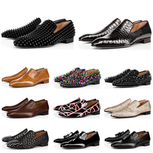 Wholesale hot fashion mens loafers resale online - Hot sale fashion mens loafers shoes red bottoms black brown suede Patent Leather Rivets loafer Dress Wedding Business shoes size