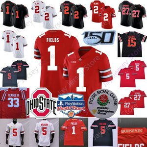 NCAA Ohio State Buckeyes Football Jersey OSU Garrett Wilson Justin Fields Julian Fleming Eddie George Chris Olave Elliott Master Teague III