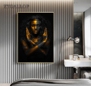 Wholesale african modern abstract art paintings resale online - Decoration Woman Art African Gold Wall Room Painting Canvas Cuadro Paintings Living Woman Pictures Home For Black Posters Modern jllEk