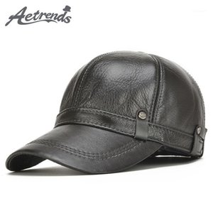 Wholesale winter baseball caps ear flaps resale online - AETRENDS New Winter Men s Leather Baseball Cap Men Warm Hats with Ears Flap Z