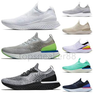 Wholesale biscuit man resale online - Good quality sneaker breathable tennis epic reaction fly knit men and women running shoes all white gray volt biscuit cream athletic sneaker
