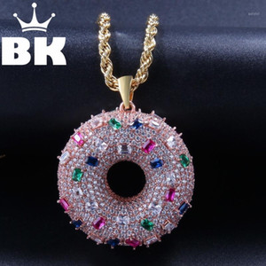 Wholesale doughnut pendant resale online - THE BLING KING Custom Doughnut Necklace Hip Hop Full Iced Out Cubic Zirconia gold sliver CZ Stone1