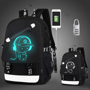 Wholesale teenagers backpacks resale online - HBP Anti thief Children School Bags Boy Girl Anime Luminous School Backpack Teenager Schoolbag Waterproof Kids Bag USB Charging Port
