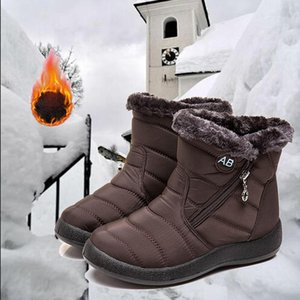 Wholesale shoes side female for sale - Group buy Women Winter Ankle Boots New Warm Female Snow Boots Side Zipper Tarpaulin Low Heel Casual Shoes Low Tube Ladies