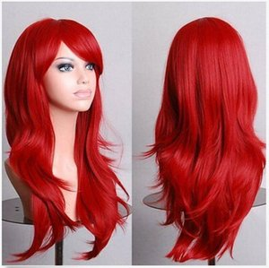 pelo largo en capas al por mayor-Moda Multicapa Fluffy Red Long Long Wavy Cosplay Peluca