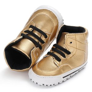Wholesale baby boys shoes months resale online - Newborn Baby High Top PU Leather Mocassins Baby Girl Sneakers Toddler Boys Shoes First Walker New Design Month