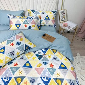 Wholesale queen comfort set for sale - Group buy Mediterranean Shells Sea Star Fish Bedding Set Full Queen King Cotton Double Home Textile Bed Sheet Pillow Case Quilt Cover Comfort HHf