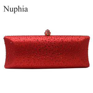 Wholesale wedding handbags green blue resale online - Nuphia Women Party Metal Crystal Clutches Evening Bags Wedding Bag Bridal Shoulder Handbag Wristlets Clutch Purse Red Pink Blue Q1113