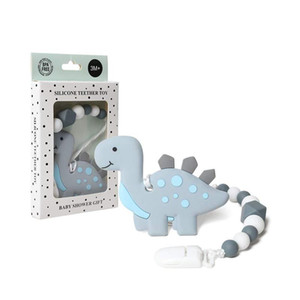 Baby Teething Toys Dinosaur Teether Pain Relief Toy with Pacifier Clip Holder Set for Newborn Babies Neutral for Boys and Girls