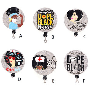 Wholesale clips for badges for sale - Group buy Medical Multi style Black Nurse rhinestone Retractable ID Badge Holder for nurse name accessories badge reel with alligator clip