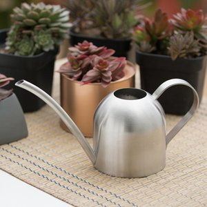 Wholesale stainless steel garden flowers resale online - Long Mouth Watering Can Stainless Steel Color Mini Type Waters Flowers Sprinklers Gardening Succulent Plants Water Kettles sh L1