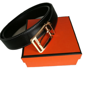 New Fashion Men Business Belts Ceinture Smooth Gold Silver Buckle Genuine Leather Belt For Women Waist belt With Box Free Shipping
