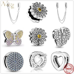 Wholesale butterflies clips for sale - Group buy 925 Sterling Silver safety chain Charm Daisy Butterfly clips Beads Fit Original Pandora Reflections Bracelet DIY women Jewelry