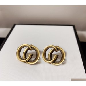 Wholesale men's hoop earrings resale online - Fashion Hoop Earrings Aretes Orecchini For Women Party Wedding Lovers Gift Jewelry Engagement With Box Hb1217 Gqsbn