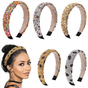 ingrosso fasce donne-Retrò Hair Hoop Natural Healing Crystal Stone Stone Sponge Sponge Leopard Stampa Donna Fashion Hair Band Accessori DX K2B
