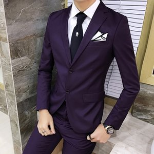 Wholesale suit parts resale online - 2020 Men s New Purple Thin British Style Solid Color Suit High Quality Gentleman Play Two Parts Hhlb