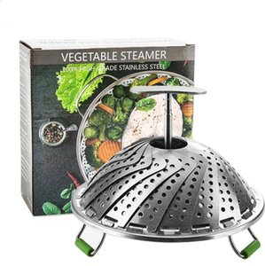 Wholesale steamed pot resale online - Stainless Steel Steaming Baskets Folding Mesh Food Vegetable Steaming Cooker Steamer Instant Pot Expandable Pannen Kitchen Tool DWC3431