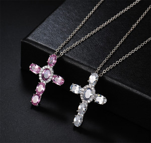 Wholesale platinum gold diamond resale online - Hip Hop Vintage Jewelry Cross Pendant K White Gold Fill Oval Cut Sapphire CZ Diamond Christian Jesus Women Wedding Clavicle Necklace L2