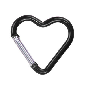 Wholesale carabiner camp keychain resale online - Carabiner Keyrings heart Shaped Keychain Outdoor Sports Camp Snap Clip Hook Hiking Aluminum Metal Convenient Hiking Camping Clip On CCE4272