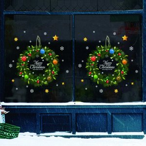 Wholesale home decor wall appliques resale online - Xmas Wall Christmas Rattan Ring Door Sticker DIY Navidad Wall Window Glass Festival Applique Mural New Year Christmas Home Decor Decor GJ7L