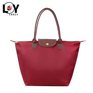 Wholesale cloths shops resale online - Large Capacity Oxford Cloth Shoulder Shopping Bag Beach Tote Bag Designer Nylon Purses And Handbags Luxury Big Size Shopping Bag C1009