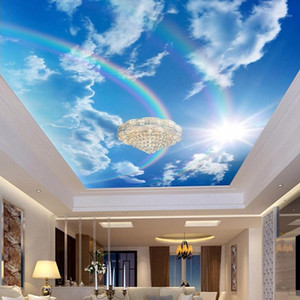 Wholesale wallpaper rainbow resale online - Drop Shipping Custom D Wallpaper Murals Blue Sky White Clouds Rainbow Photo Mural Interior Ceiling Decorative Wall Paper1