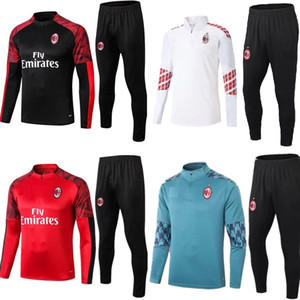 Wholesale long sleeve soccer jersey kit for sale - Group buy New adult kit Long sleeves AC milan jacket uniforms tracksuits soccer jersey train football coat training suit
