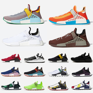 спортивная обувь для гонок  оптовых-Heart Mind NMD Human Race Mens Running shoes Pharrell Williams HU Inspiration Black nerd Cream equality Holi Solar Pack Runner Men Women Sports designer sneakers