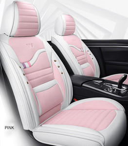 Wholesale car covers leather seats resale online - Universal Car Accessories Seat Covers For Sedan Fashion Design Full Set Leather Adjuatable Five Seats Cover Cushion Mat Pink For Women