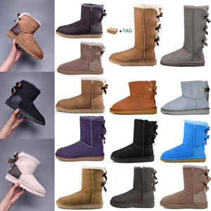 Wholesale australian gold black resale online - 2020 Designer women australia australian boots women winter snow fur furry satin boot ankle booties fur leather outdoors Bowtie shoes