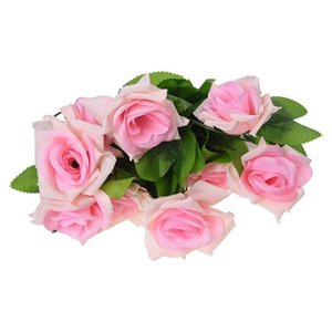 Wholesale pink rose vine resale online - Artificial Light Pink Rose Leaf Vines Garland Plants Home Decoration Garden