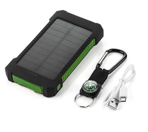 aufladung solarbatterien großhandel-20000mAh Solar Power Bank Ladegerät mit LED Taschenlampe Kompass Camping Lampe Doppelkopf Batterie Panel wasserdicht Outdoor Lading Handy