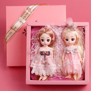 Wholesale houses for dolls for sale - Group buy 2Pcs Mini BJD Dolls Gifts Box Girls Baby DIY Hair Movable Joints Swivel Doll For Kids Children Lovely Dress Up Play House Toys Y0112
