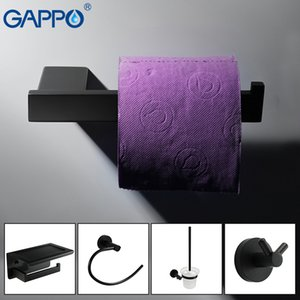 Wholesale bath hardware accessories resale online - GAPPO Bath hardware sets black stainless steel paper holder robe hook soap shelf toilet brush set bathroom accessories T200425