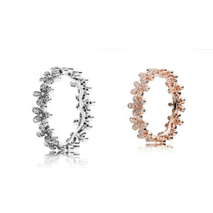 Wholesale stackable rings for sale - Group buy 18K Rose gold Silver Dazzling Daisy Meadow Stackable Ring Original Box for Pandora Sterling Silver designer rings Set K2