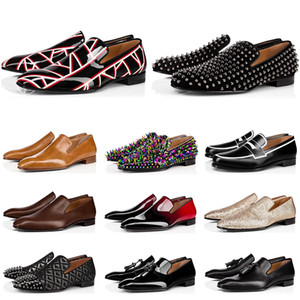 Wholesale wedding flats resale online - New mens loafers shoes red bottoms black brown suede Patent Leather Rivets glitter fashion loafer Dress Wedding Business shoes size