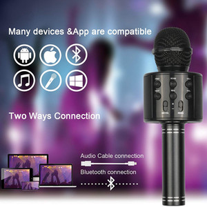 Wholesale bluetooth microphones resale online - Black Portable Handheld Wireless Bluetooth Karaoke OK Microphone and Bluetooth Speaker MIC Speaker Record Music KTV Microphone