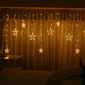 Wholesale curtains s for sale - Group buy Pentagram LED Curtain String Lights Window Curtain Lights Flashing Modes Decoration for Christmas Wedding Party Home Patio Lawn CCE4017