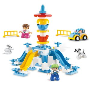 Wholesale playgrounds sets for sale - Group buy Duplo Marble Run Race Funnel Slide Cake Modular Playground Building Blocks Duplo Figures Set Big Size Bricks Toys For Children Q0123