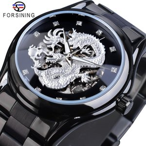 Wholesale stainless steel silver dragon resale online - Forsining Silver Dragon Skeleton Automatic Mechanical Watches Crystal Stainless Steel Strap Wrist Watch Men s Clock Waterproof