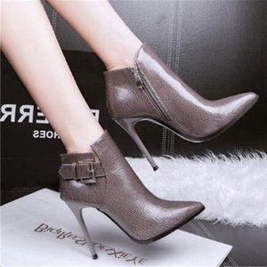 Wholesale black naked women boots resale online - Shoes Woman Pointed high heel booties Autumn winter new Fashion fine heel Ankle boots Naked boots Women s Sexy High