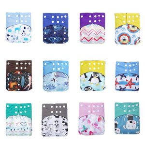 Wholesale bamboo waterproof diapers resale online - Baby Diaper Cover Reusable Nappy Cloth Nappies Bamboo Waterproof Print Washable Nappy Diapers Pocket Training Learning Pants SEA GWC5298