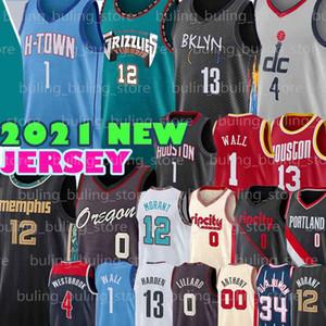 Damian 0 Lillard Jersey Russell 4 Westbrook John 1 Wall Ja 13 Harden 12 Morant Hakeem Jaren 34 Olajuwon Jackson Jr Carmelo Basketball