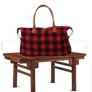 Wholesale red designer handbags resale online - Buffalo Check Handbag Red Black Plaid Bags Large Capacity Travel Tote with PU Handle Storage Maternity Bags
