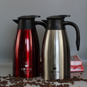 Wholesale coffee carafe resale online - Large Stainless Steel Thermal Bottle Coffee Carafe L Double Wall Insulated Vacuum Flasks Thermos Jug Water Pot Travel Children